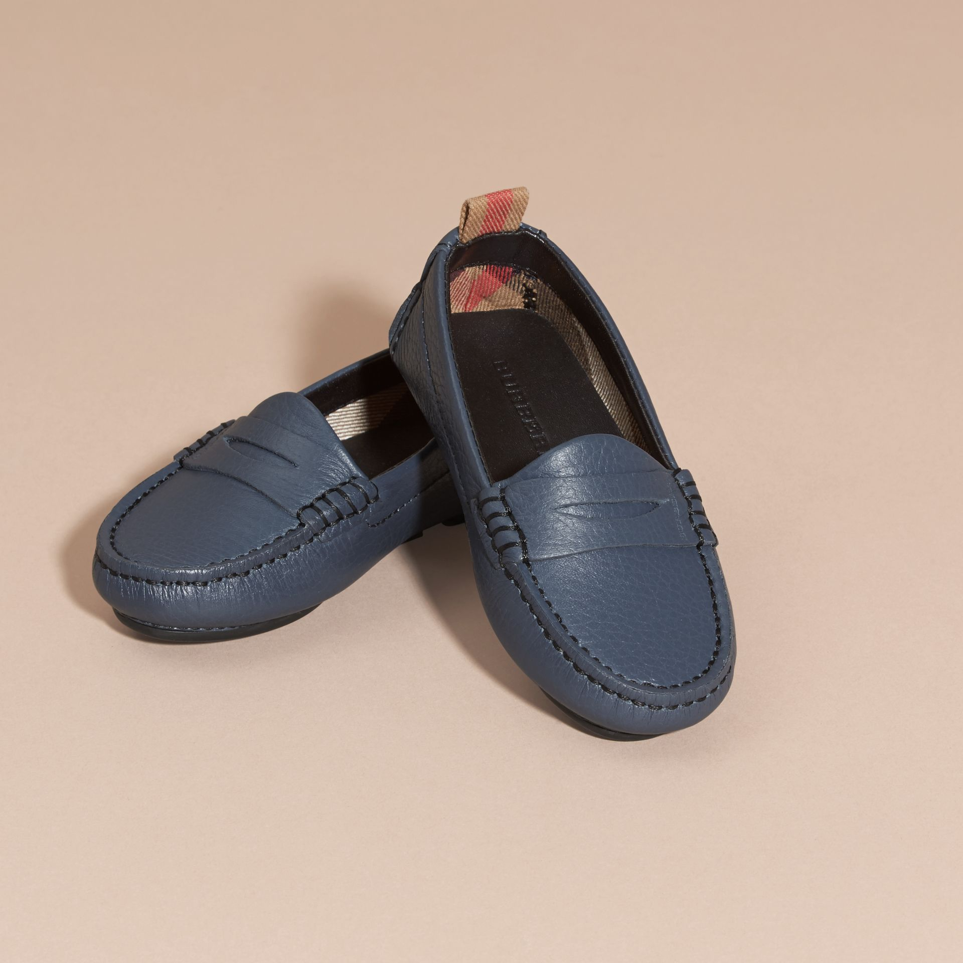 Dark mineral blue Leather Loafers - gallery image 3