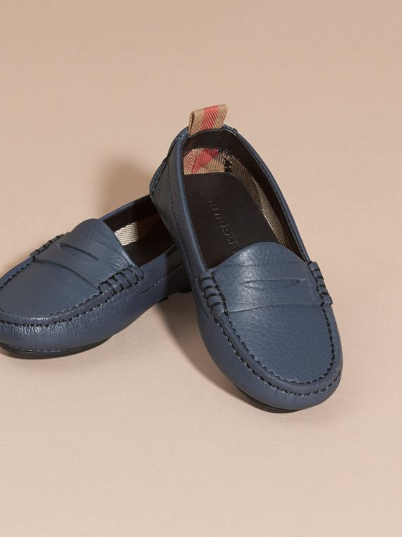 Dark mineral blue Leather Loafers - cell image 2