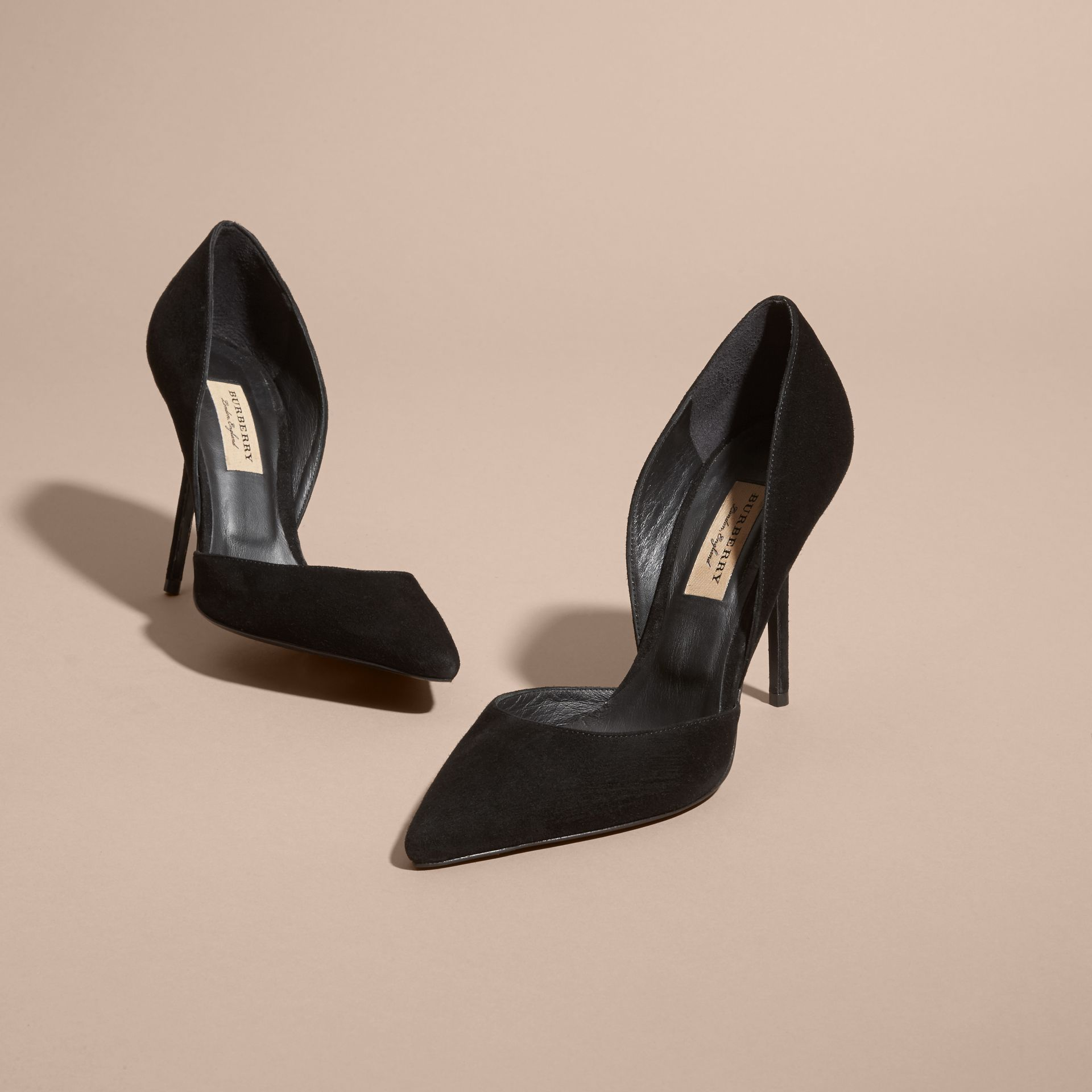 Point-toe Suede D'Orsay Pumps in Black - Women | Burberry - gallery image 4