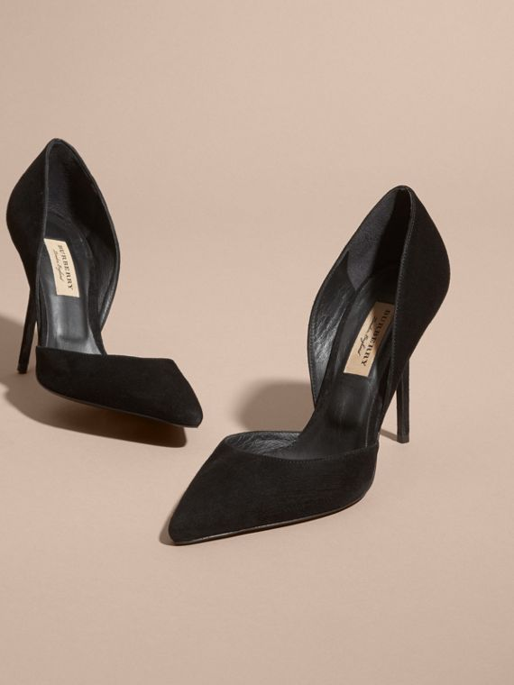 Point-toe Suede D'Orsay Pumps - cell image 3