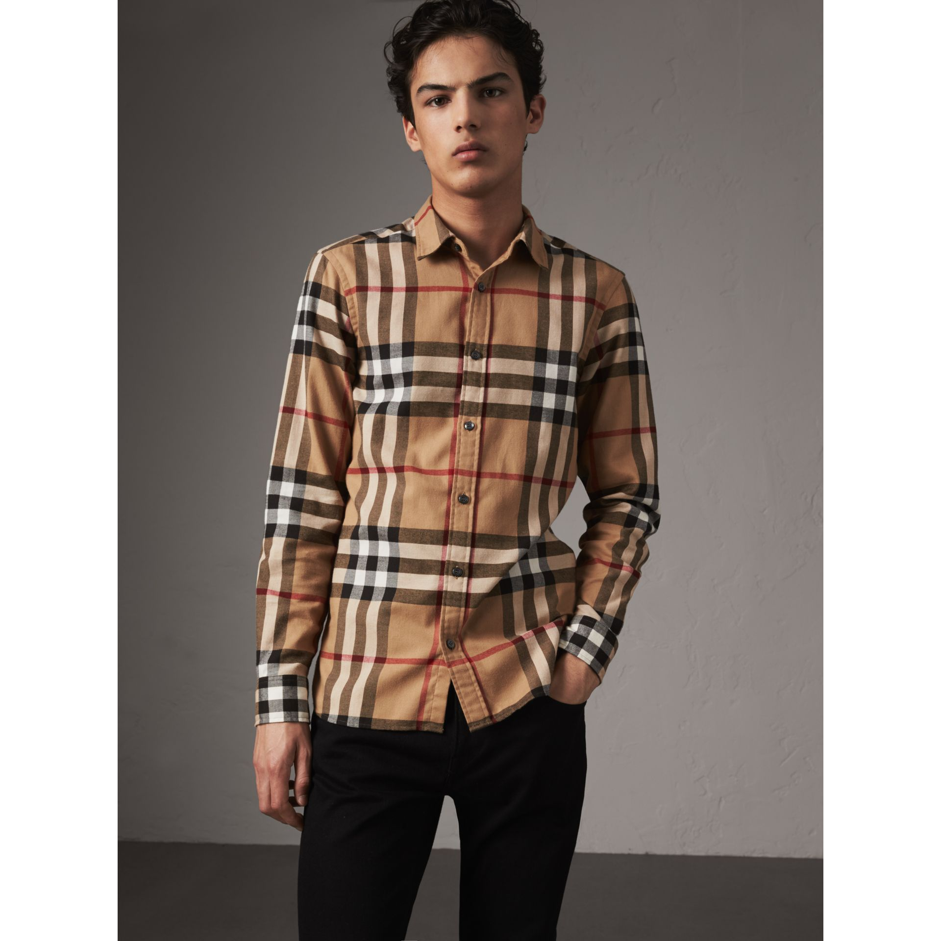 Check Cotton Flannel Shirt in Camel - Men | Burberry Canada - gallery image 1