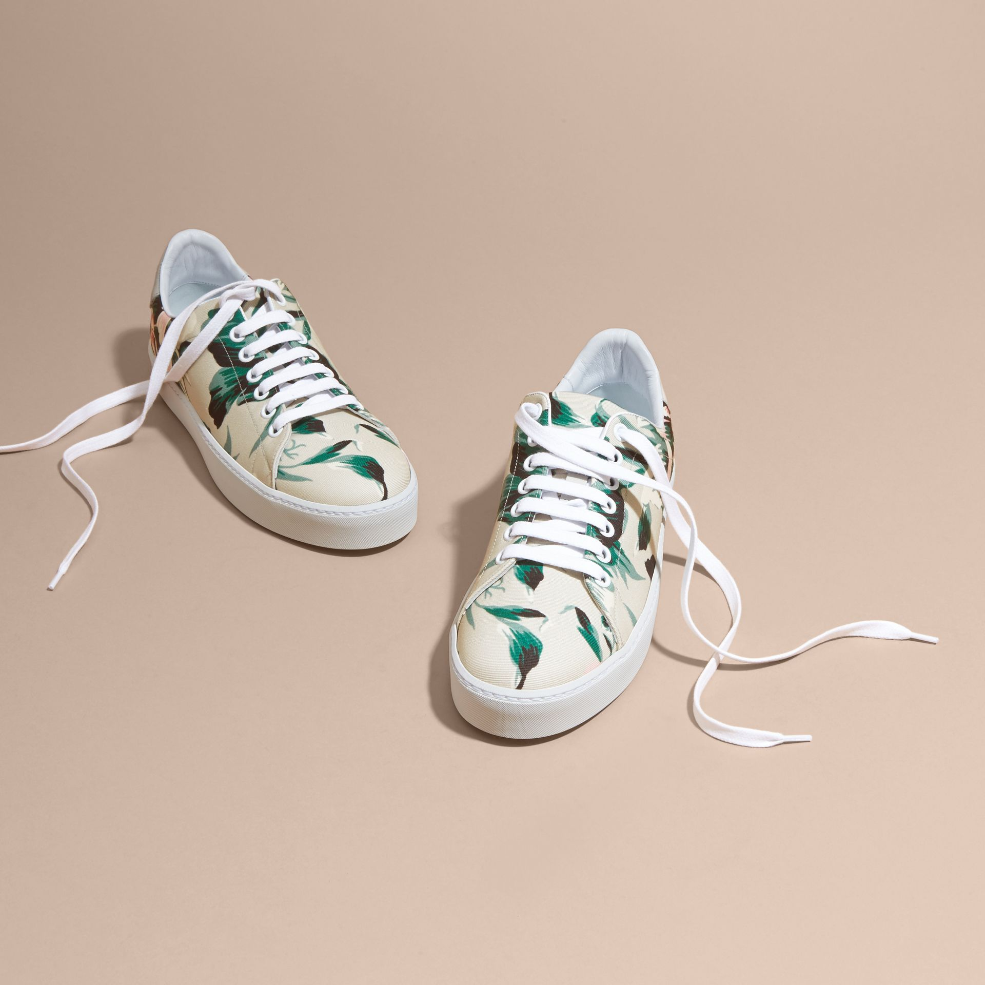 Peony Rose Print Canvas and Leather Sneakers Emerald Green - gallery image 3