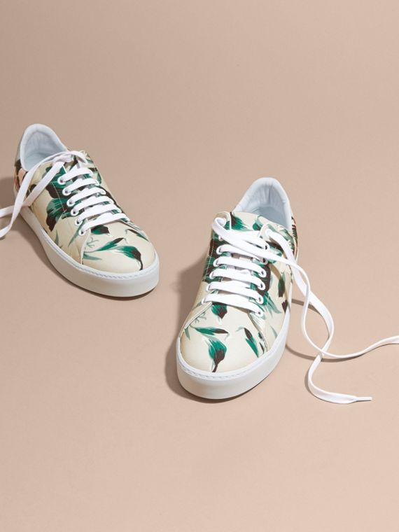 Peony Rose Print Canvas and Leather Sneakers Emerald Green - cell image 2