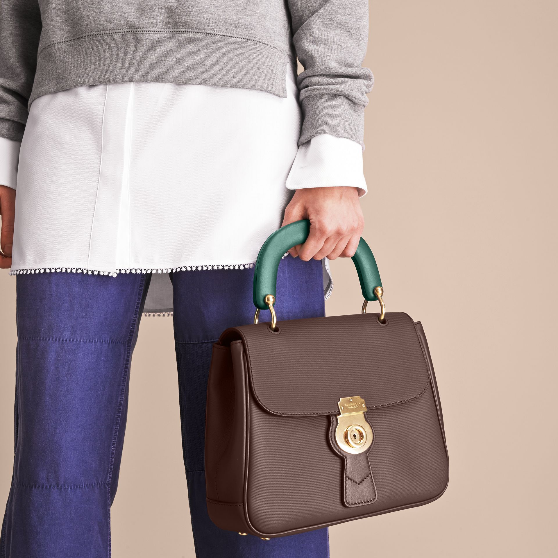 The Medium DK88 Top Handle Bag Dark Chocolate - gallery image 10
