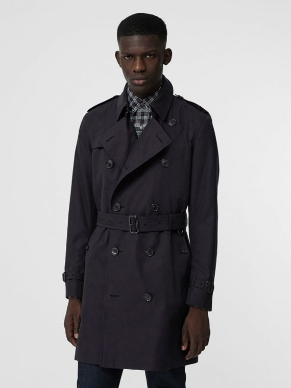 Archive Logo-lined Cotton Gabardine Trench Coat in Midnight