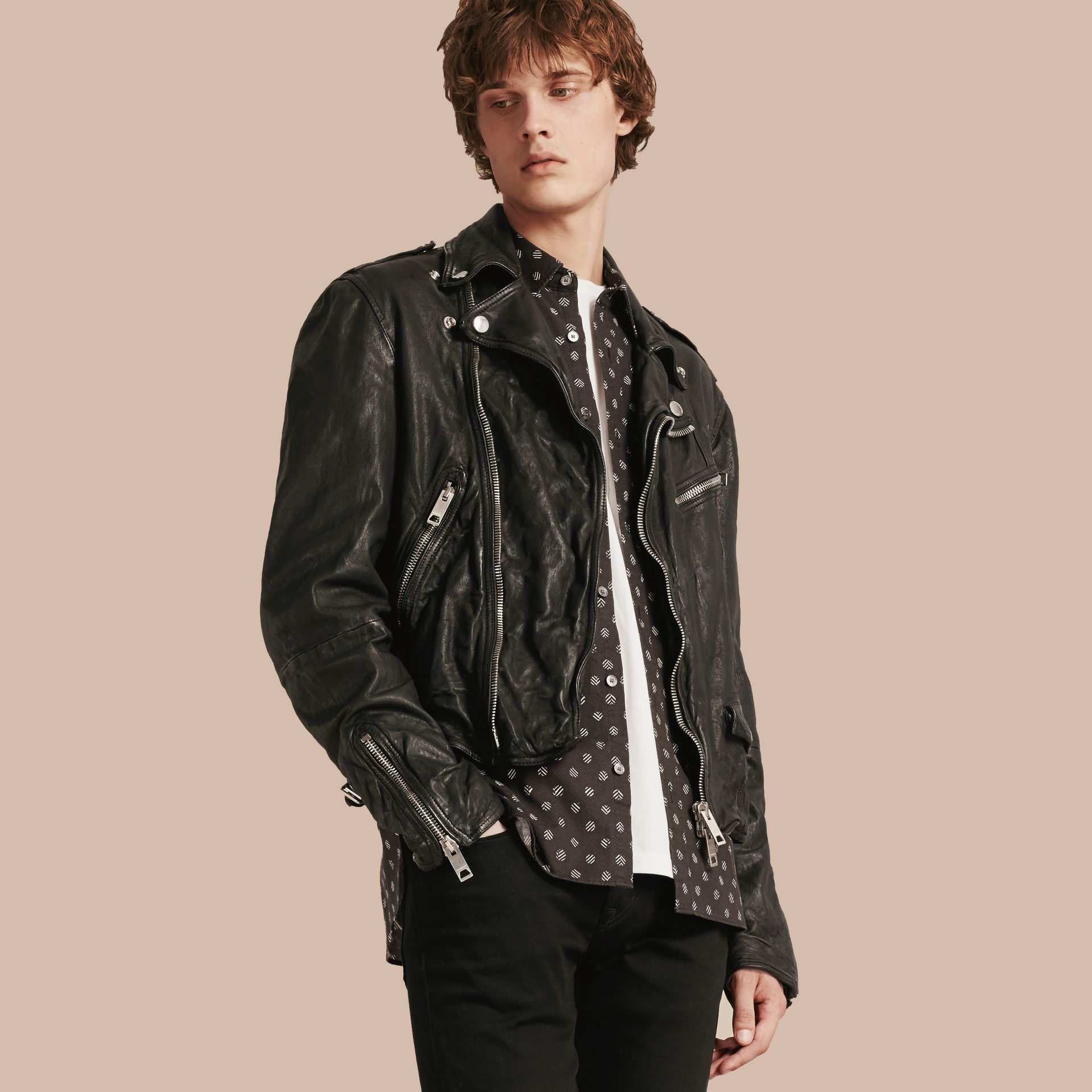 Black Washed Lambskin Biker Jacket - gallery image 1