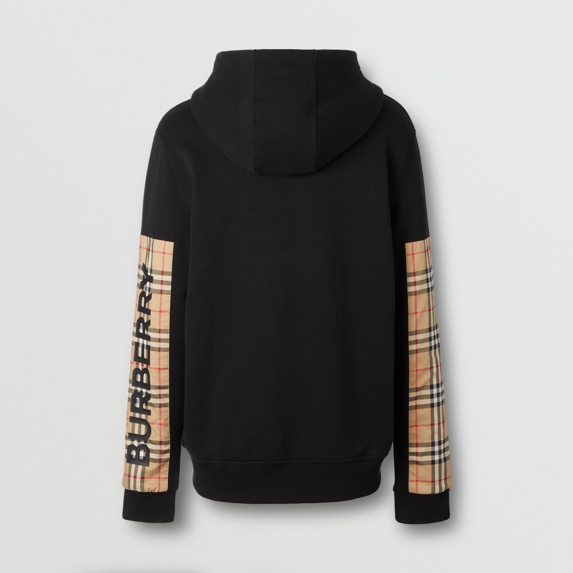 Logo Print Vintage Check Panel Cotton Hooded Top in Black - Men | Burberry - gallery image 5