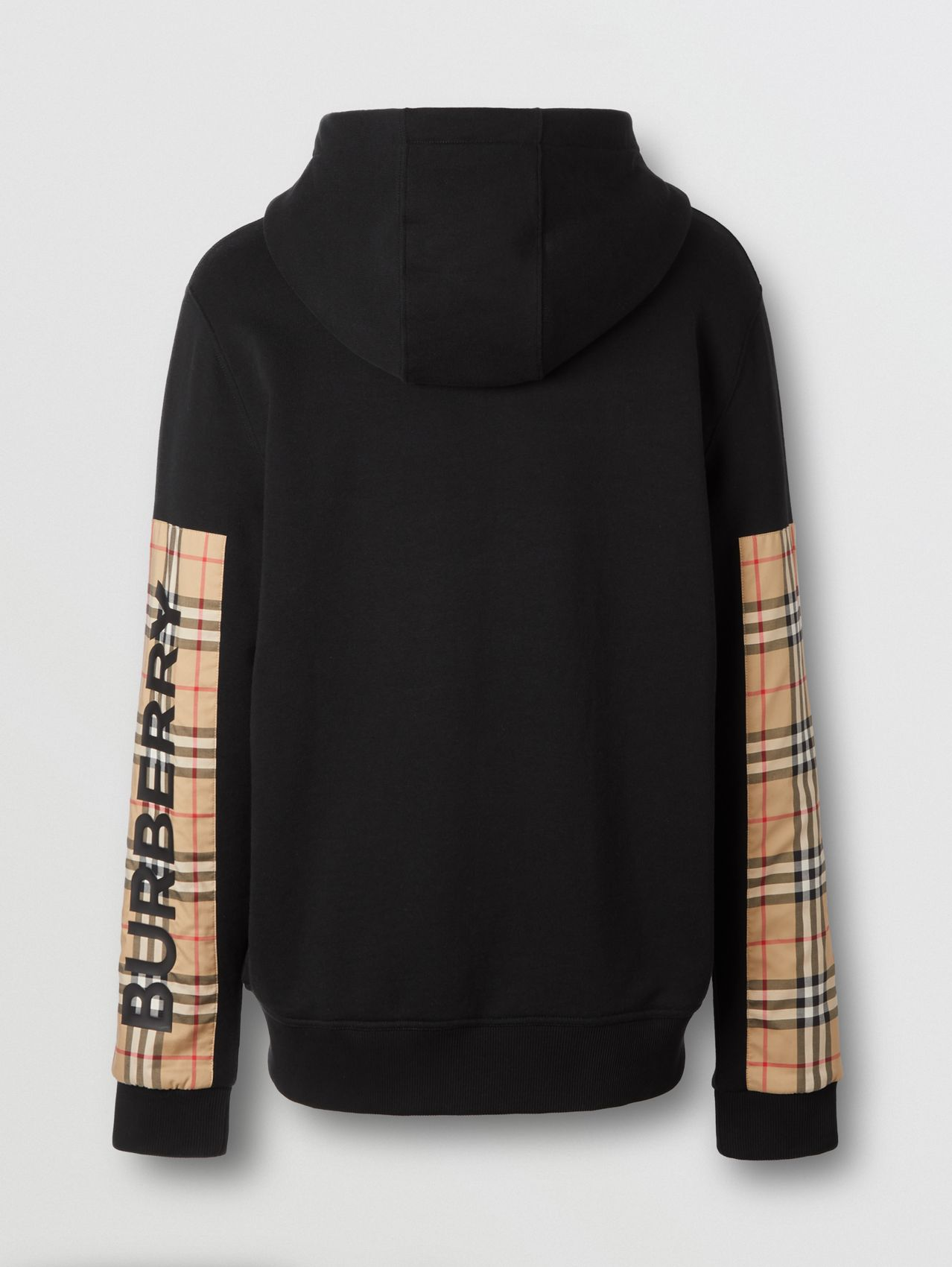 Logo Print Vintage Check Panel Cotton Hooded Top in Black