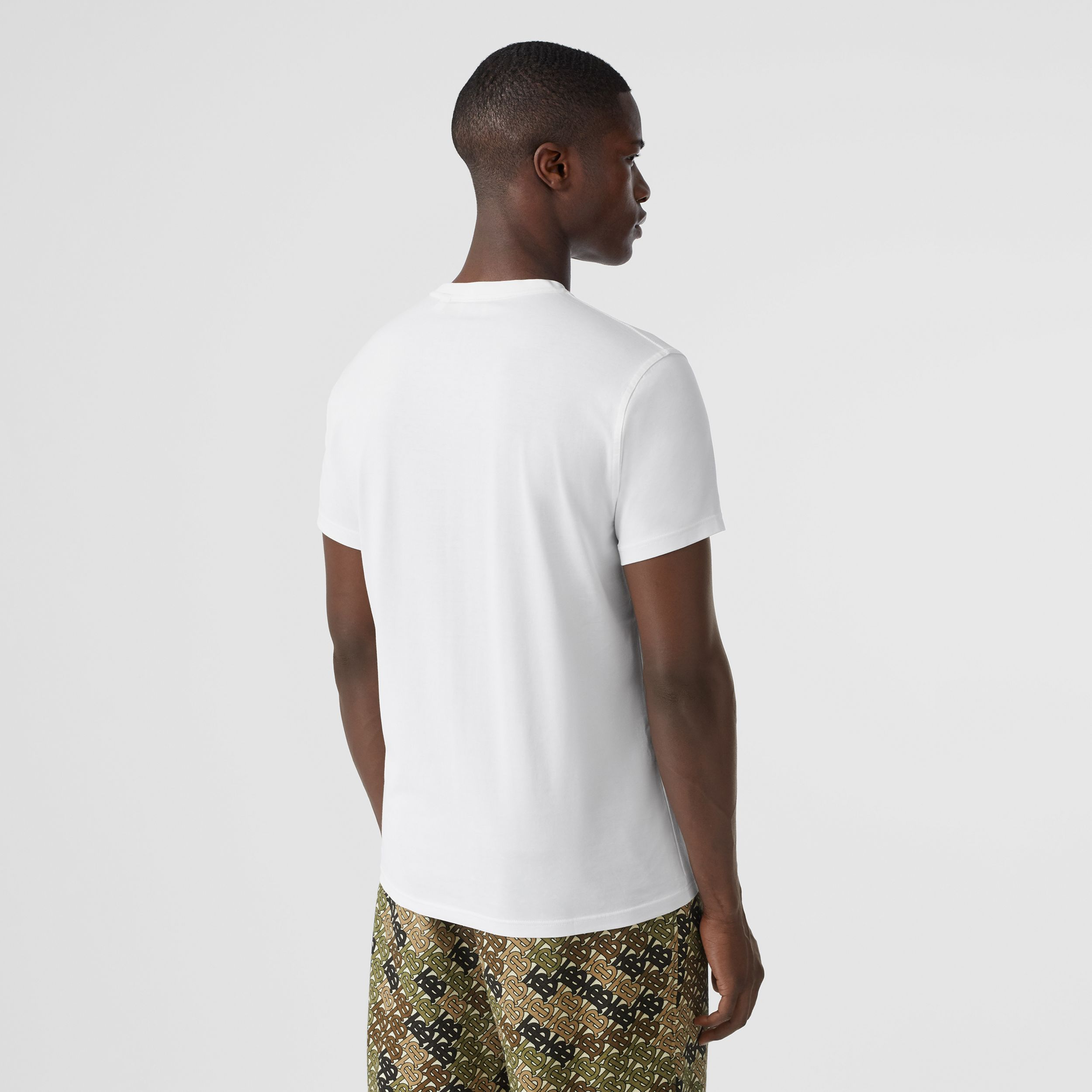 Monogram Motif Cotton T-shirt in White - Men | Burberry Hong Kong S.A.R. - 3