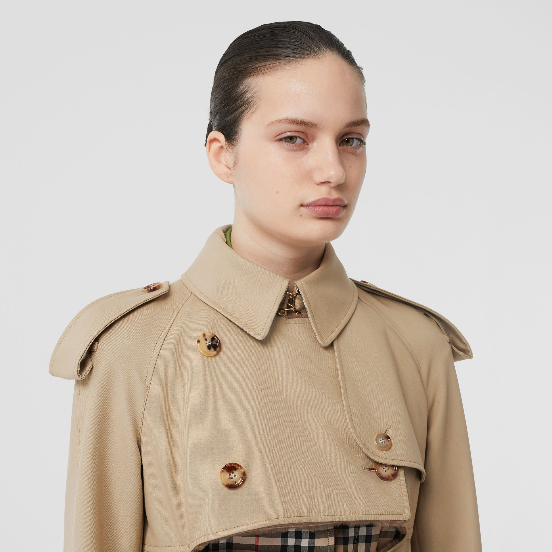 Deconstructed Cotton and Shearling Trench Coat in Honey - Women | Burberry - gallery image 1