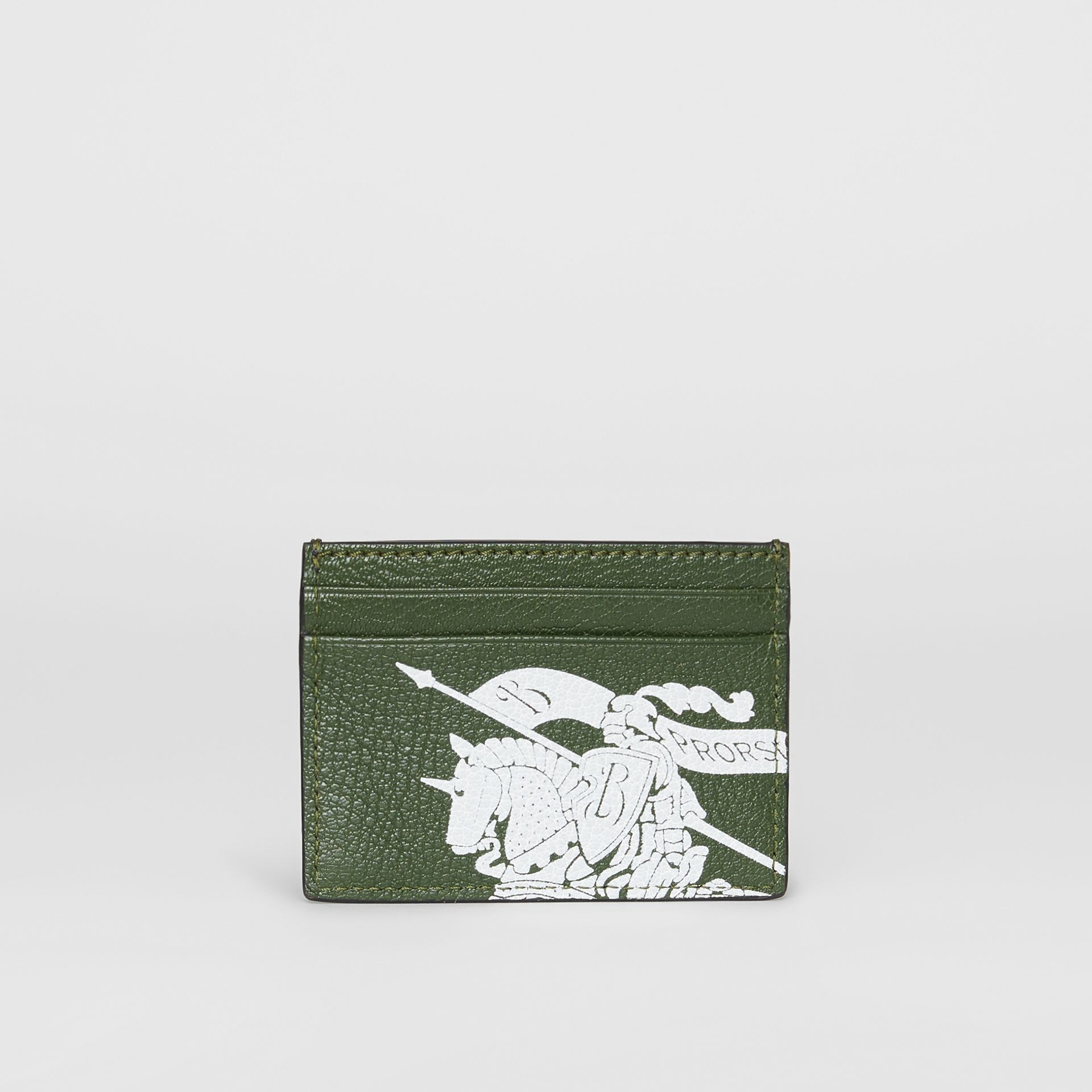 Logo Print Leather Card Case in Storm Blue/antique Green | Burberry - gallery image 5