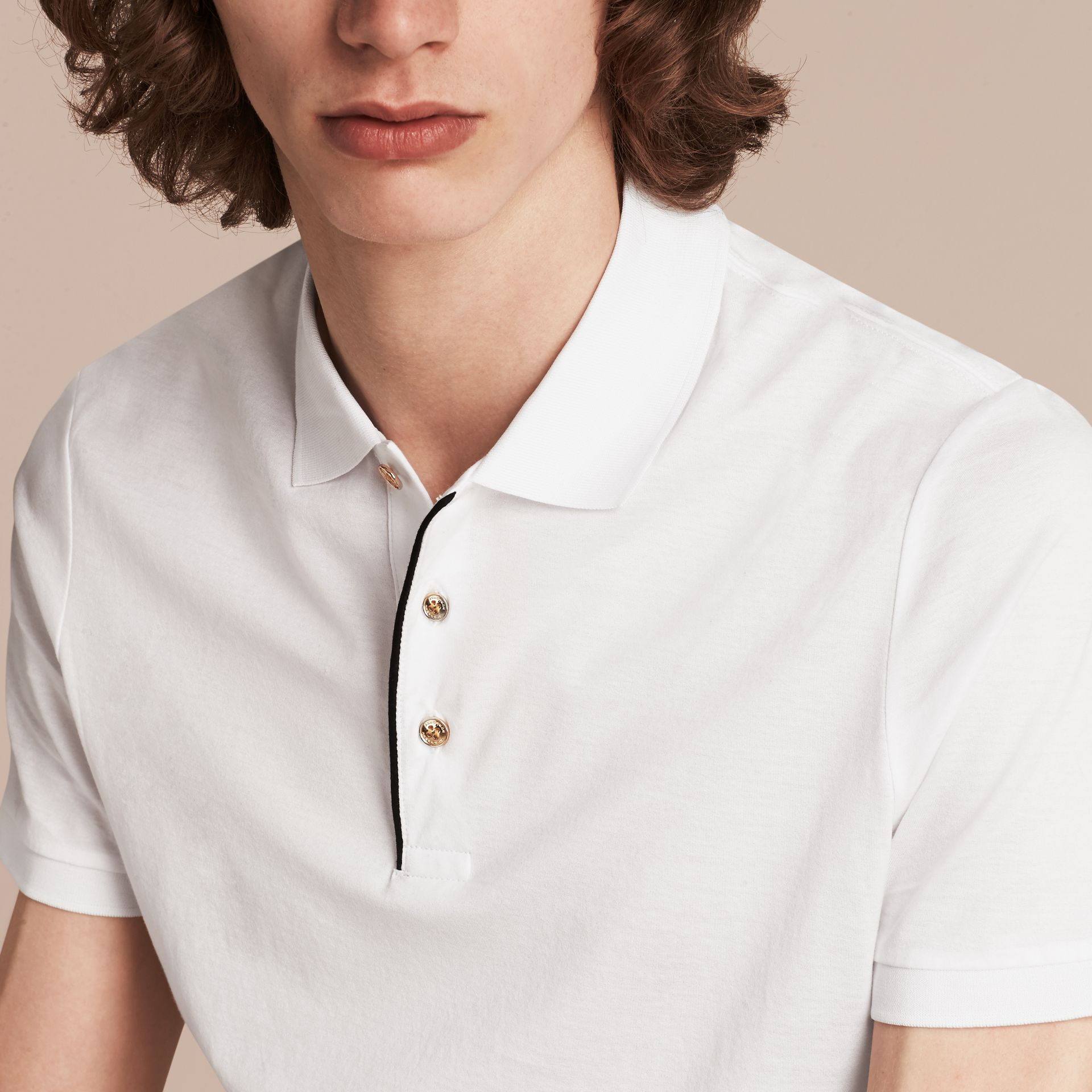 White Regimental Cotton Polo Shirt White - gallery image 5