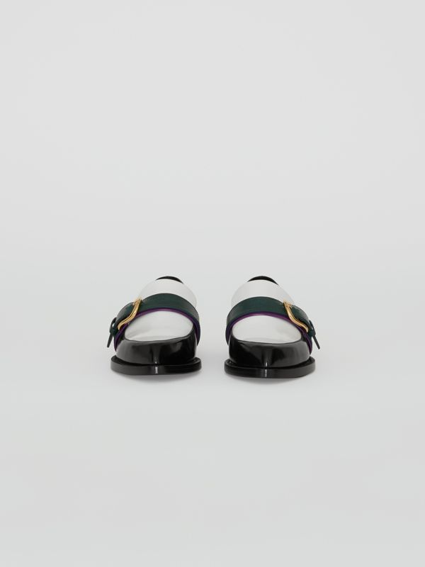 Colour Block Leather Monk Shoes in Black - Women | Burberry United Kingdom - cell image 3