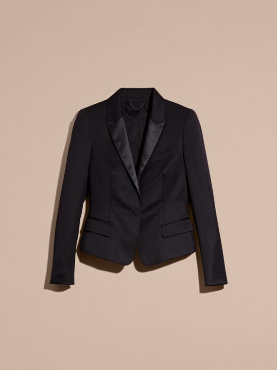 Wool Blend Tuxedo Jacket in Ink - Women | Burberry - cell image 3