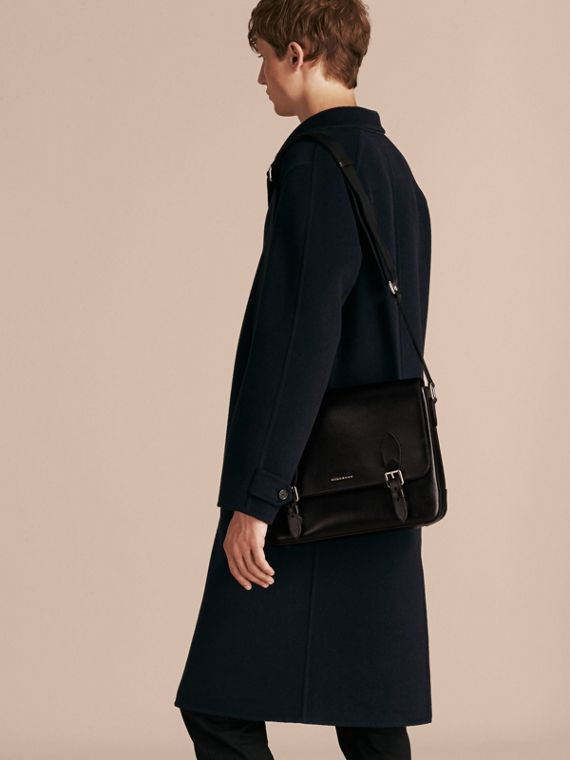 Medium London Leather Messenger Bag in Black - Men | Burberry Canada - cell image 2