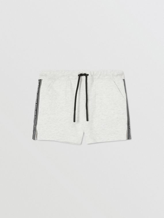 Logo Tape Cotton Drawcord Shorts in White Melange