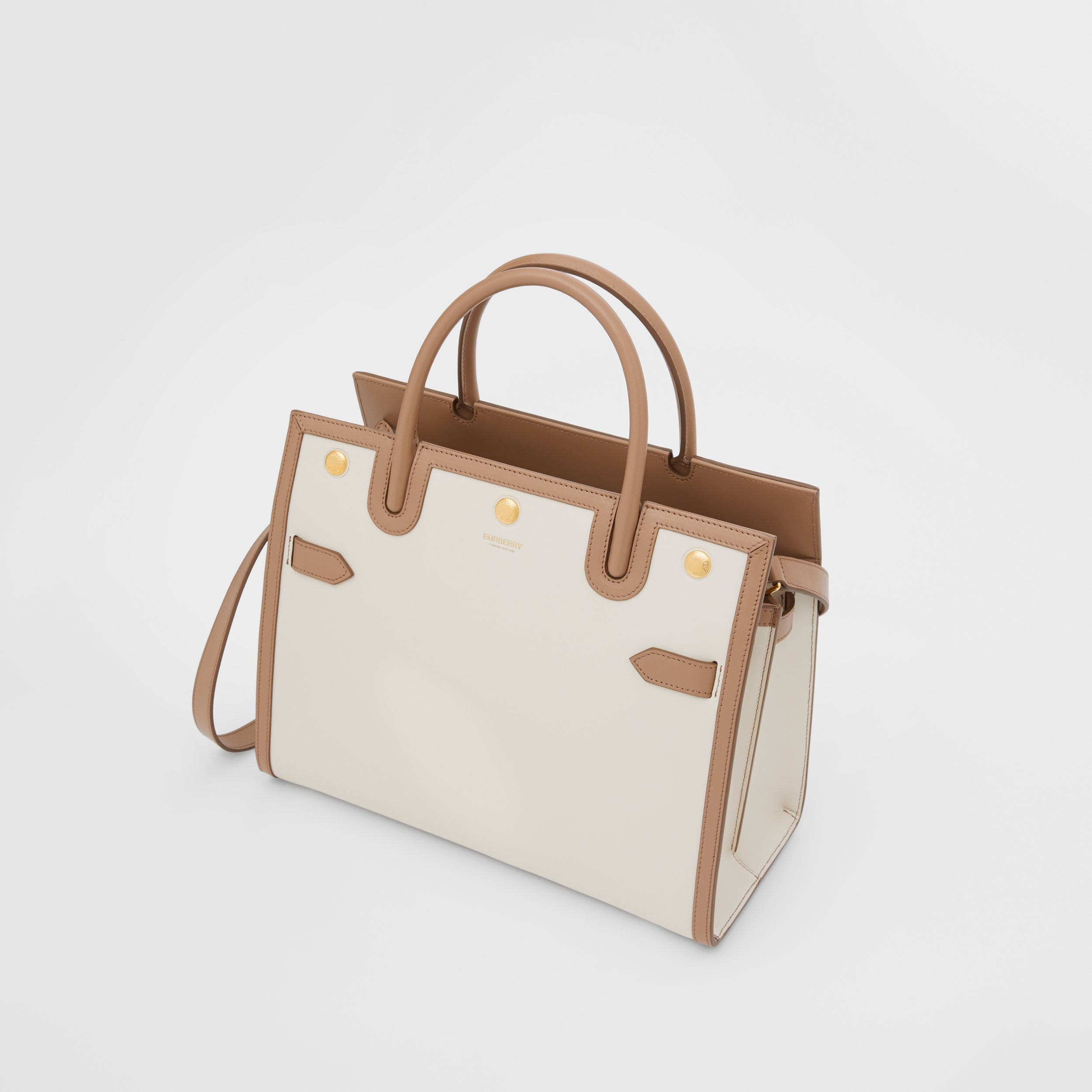 Small Leather Two-handle Title Bag in Buttermilk/camel - Women | Burberry - 4