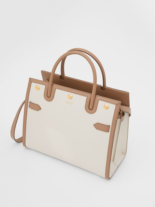 Small Leather Two-handle Title Bag in Buttermilk/camel - Women | Burberry Canada - cell image 3