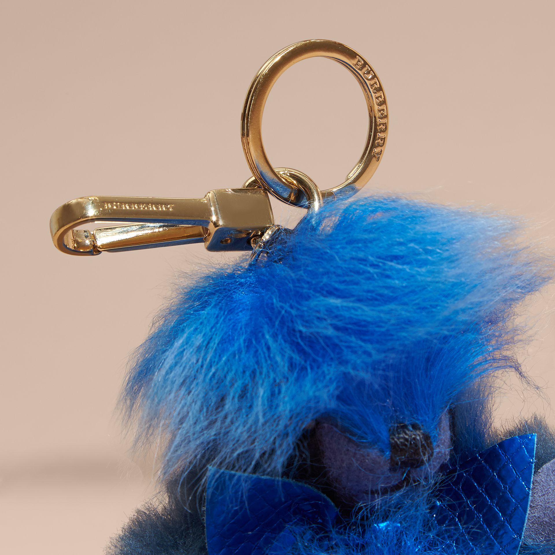 Bright cornflower blue Thomas Bear Pom-Pom Charm in Check Cashmere Bright Cornflower Blue - gallery image 3