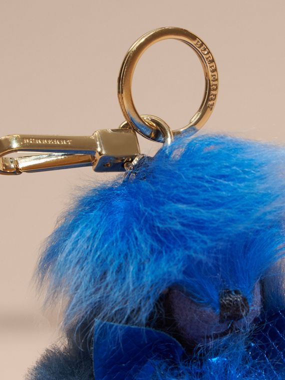 Bright cornflower blue Thomas Bear Pom-Pom Charm in Check Cashmere Bright Cornflower Blue - cell image 2