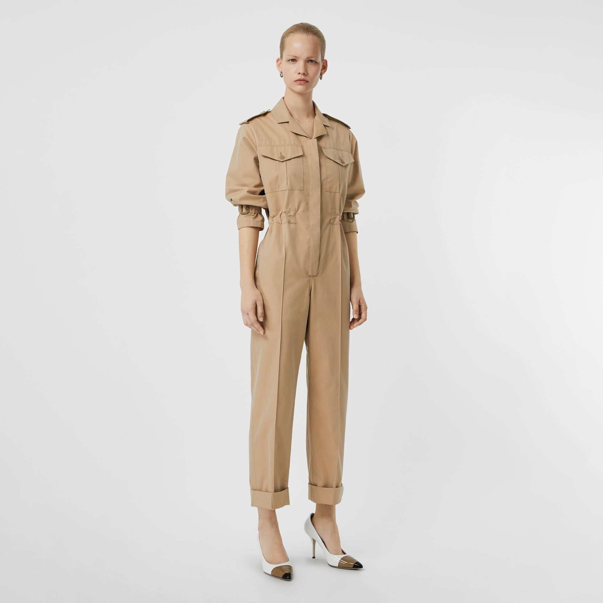 Cotton Gabardine Jumpsuit in Honey - Women | Burberry - gallery image 0