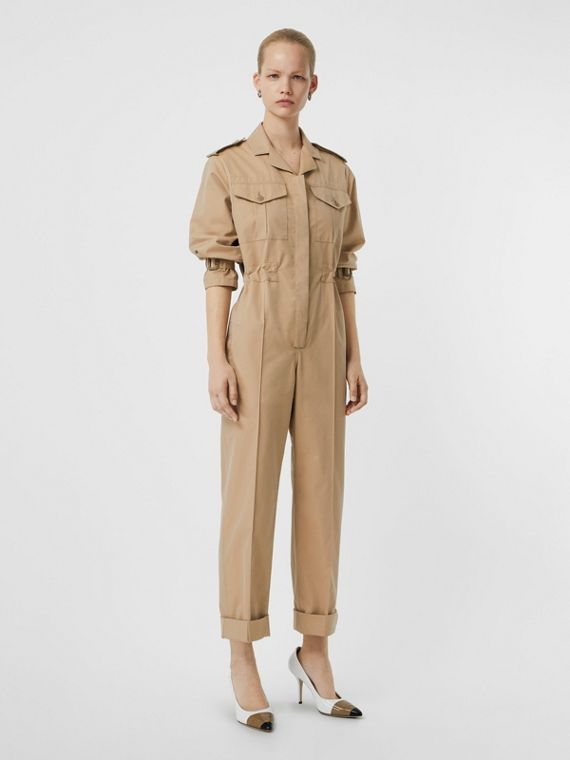 Cotton Gabardine Jumpsuit in Honey