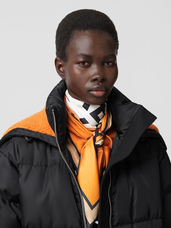 Logo Print Silk Square Scarf in Orange | Burberry - cell image 2