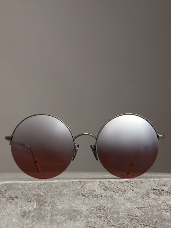 Mirrored Round Frame Sunglasses in Burgundy - Women | Burberry United States - cell image 3