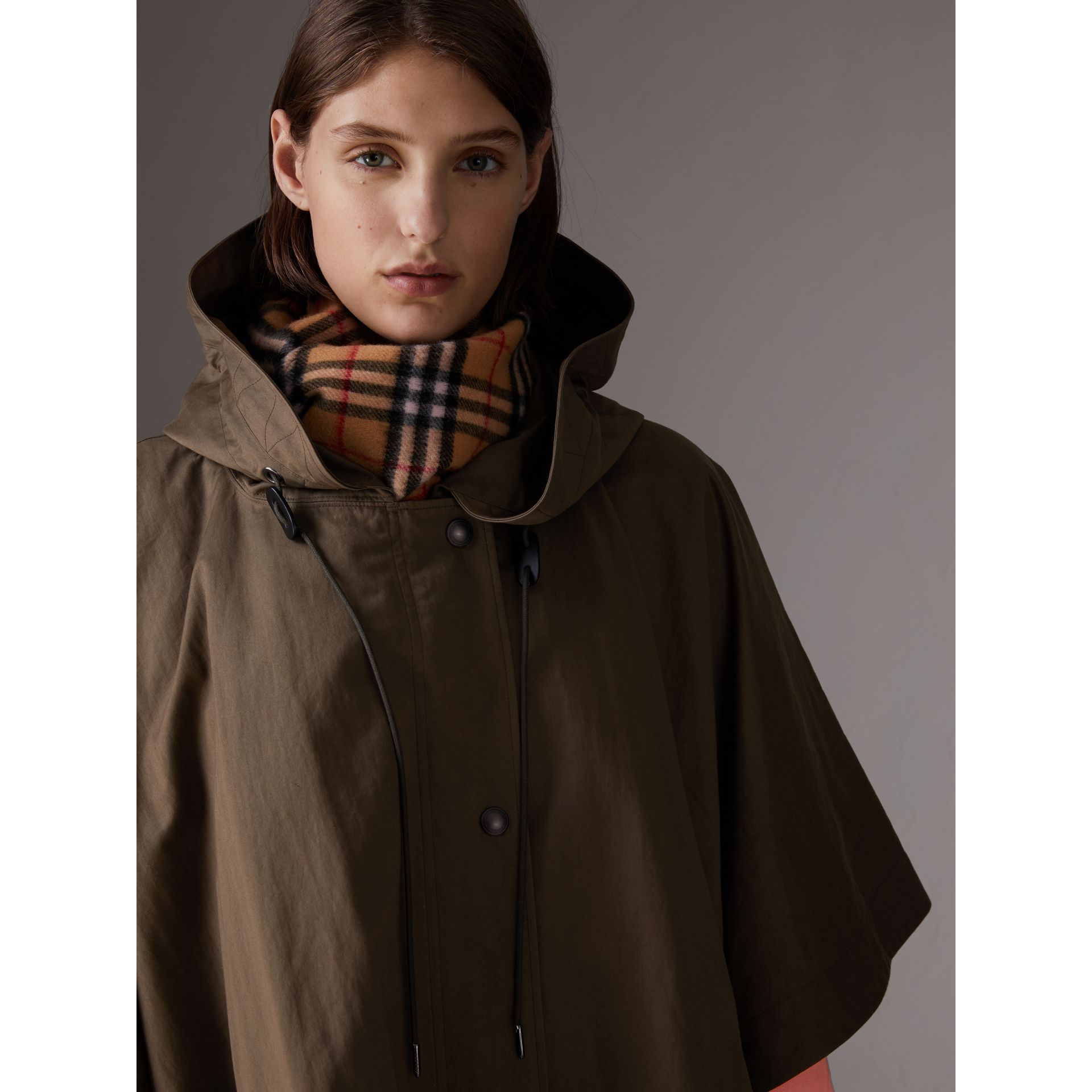 Showerproof Oversized Parka Cape in Dark Olive - Women | Burberry - gallery image 1