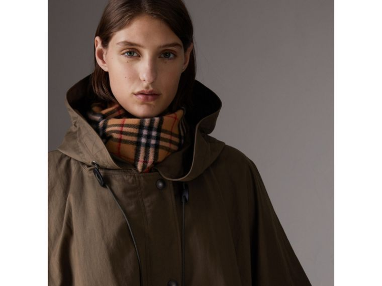 Showerproof Oversized Parka Cape in Dark Olive - Women | Burberry - cell image 1