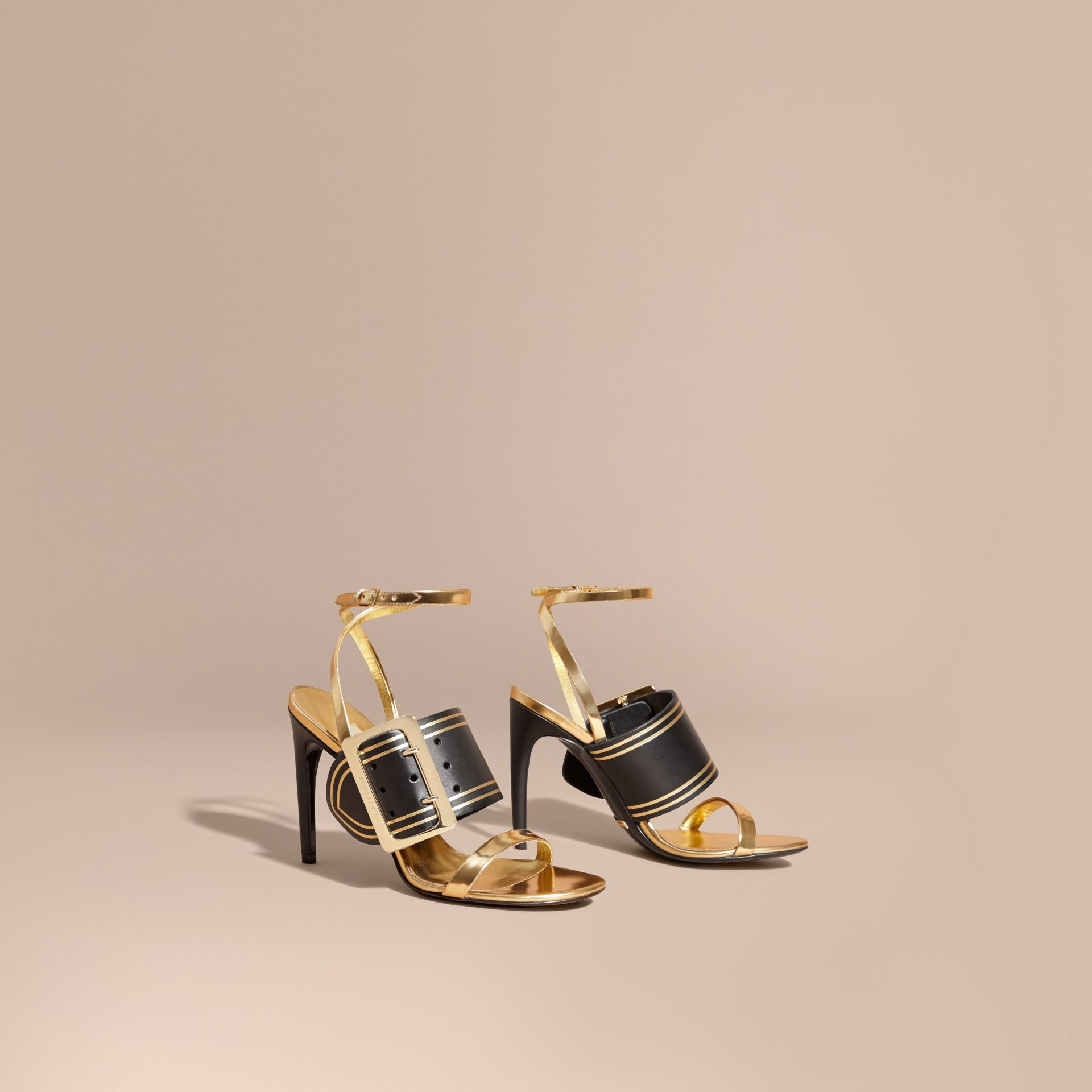 Two-tone Leather Sandals with Buckles - gallery image 1