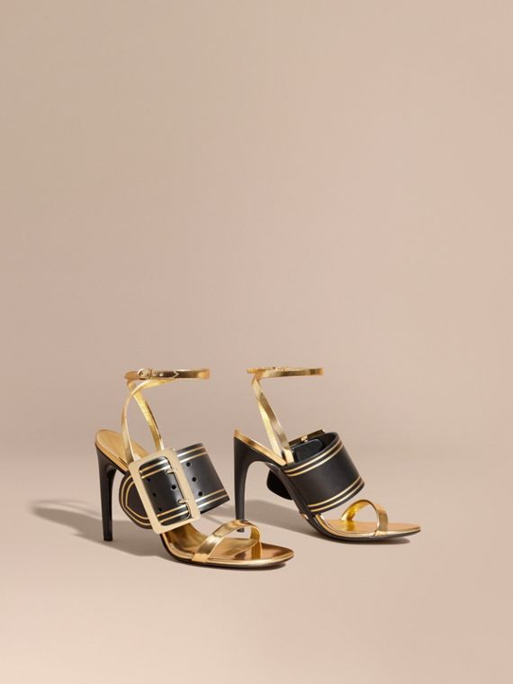 Two-tone Leather Sandals with Buckles - Women | Burberry