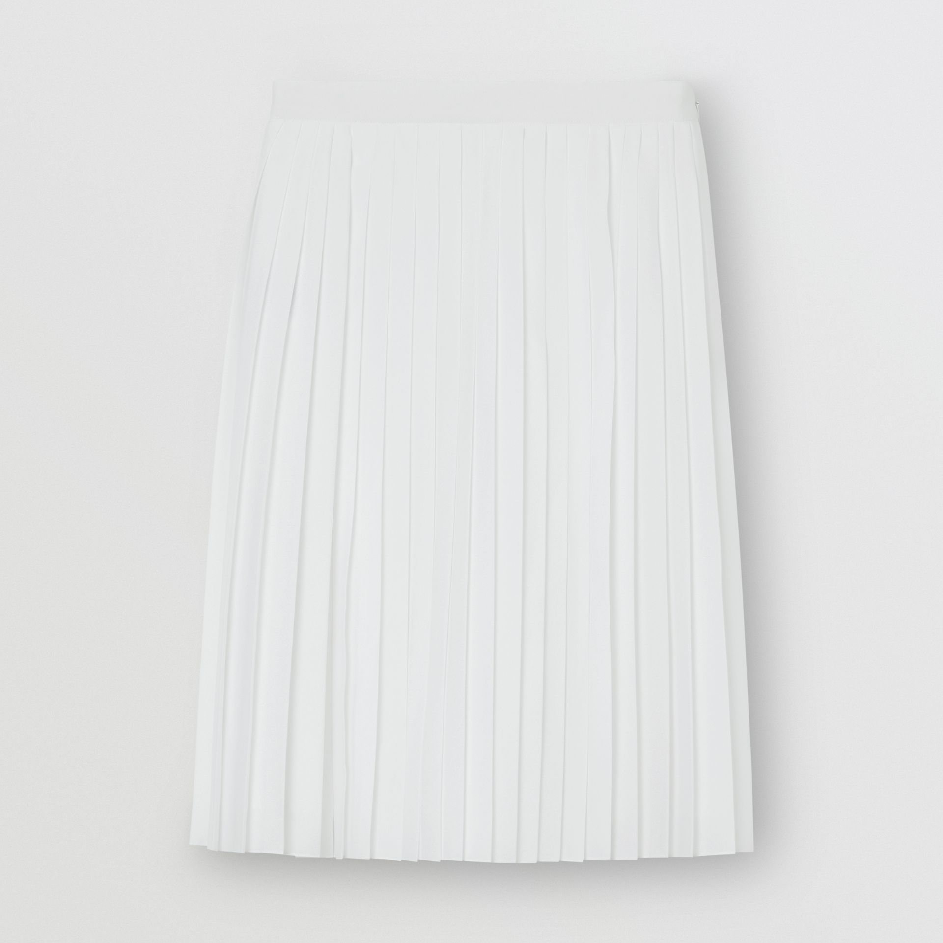 Silk-lined Pleated Skirt in Optic White - Women | Burberry - gallery image 3