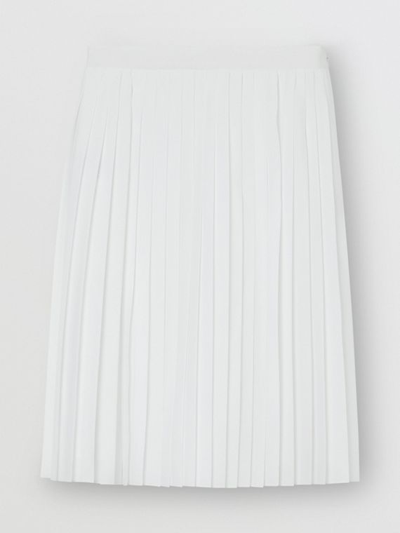Silk-lined Pleated Skirt in Optic White