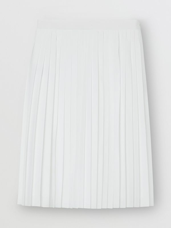 Silk-lined Pleated Skirt in Optic White - Women | Burberry - cell image 3