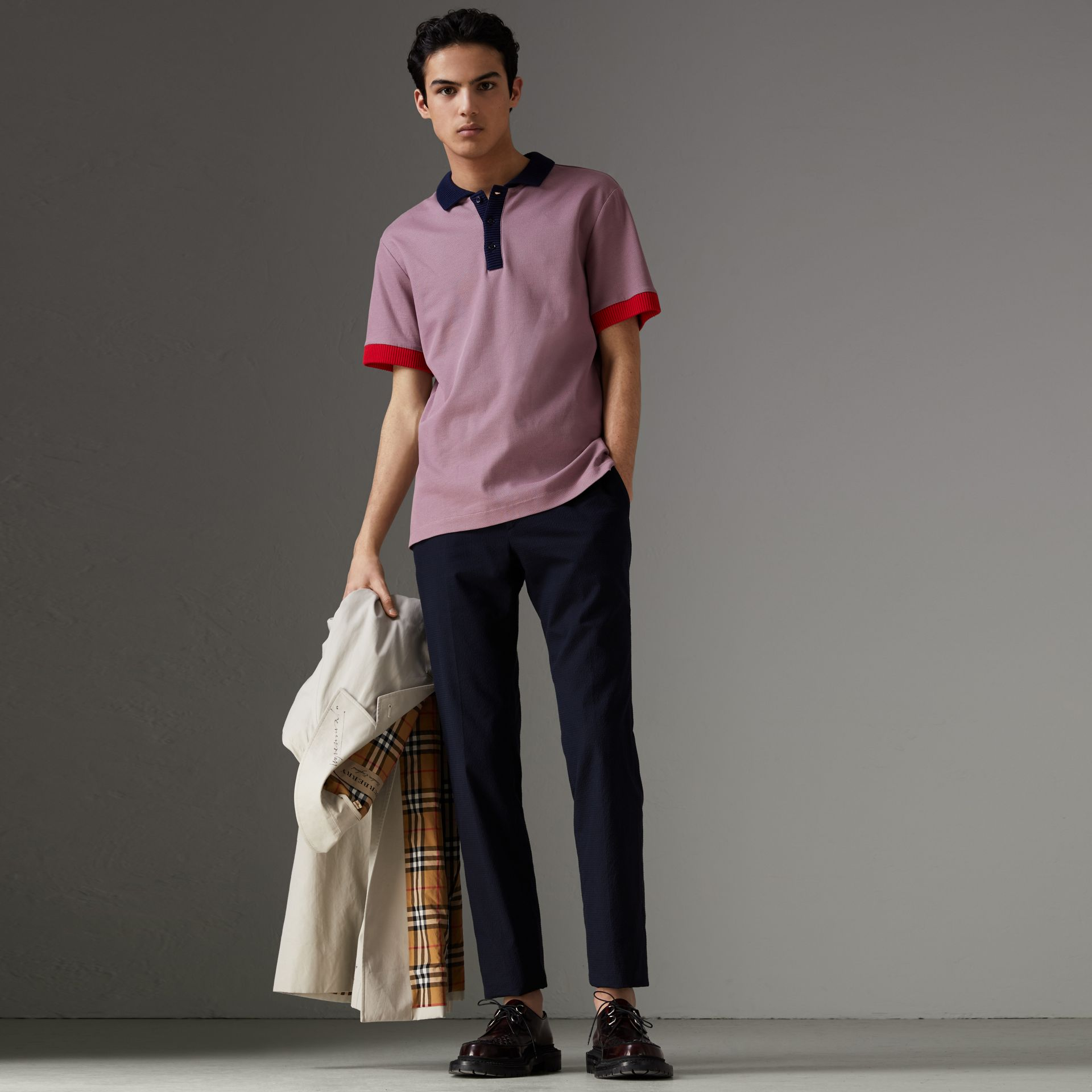 Two-tone Stripe Knitted Detail Cotton Polo Shirt in Heather Pink - Men | Burberry - gallery image 0