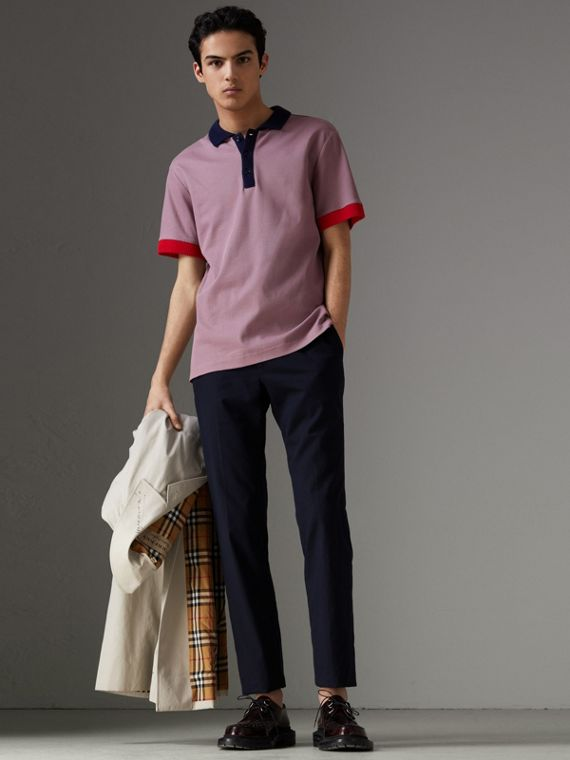 Two-tone Stripe Knitted Detail Cotton Polo Shirt in Heather Pink