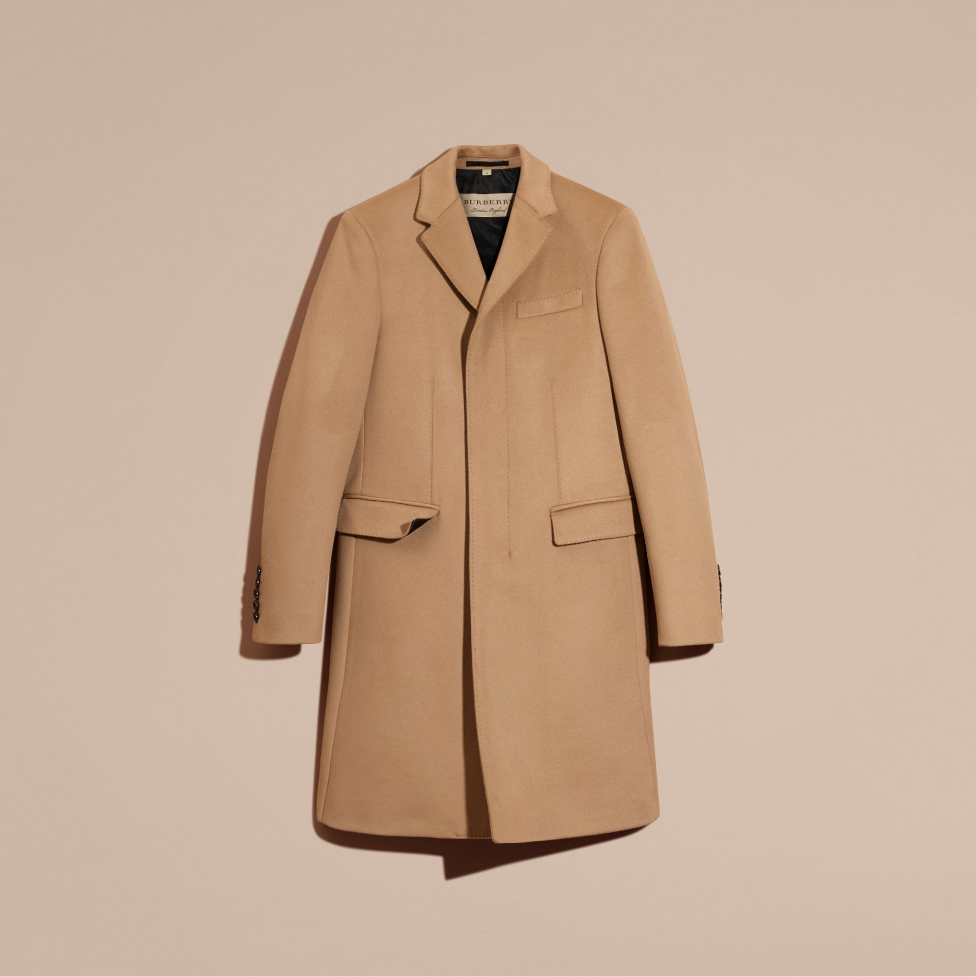 Camel Wool Cashmere Tailored Coat Camel - gallery image 4