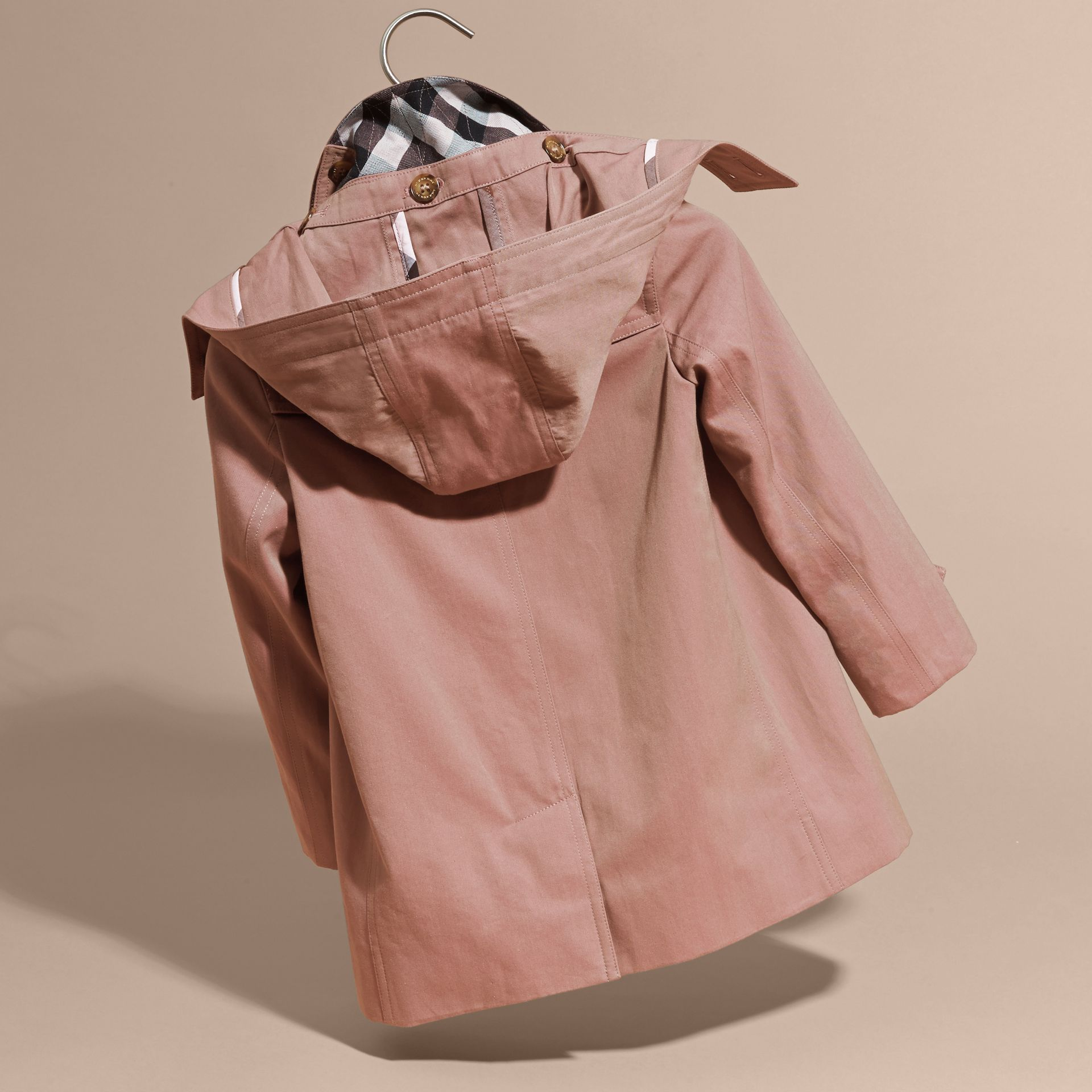 Detachable Hood Tropical Gabardine Trench Coat Antique Rose - gallery image 4