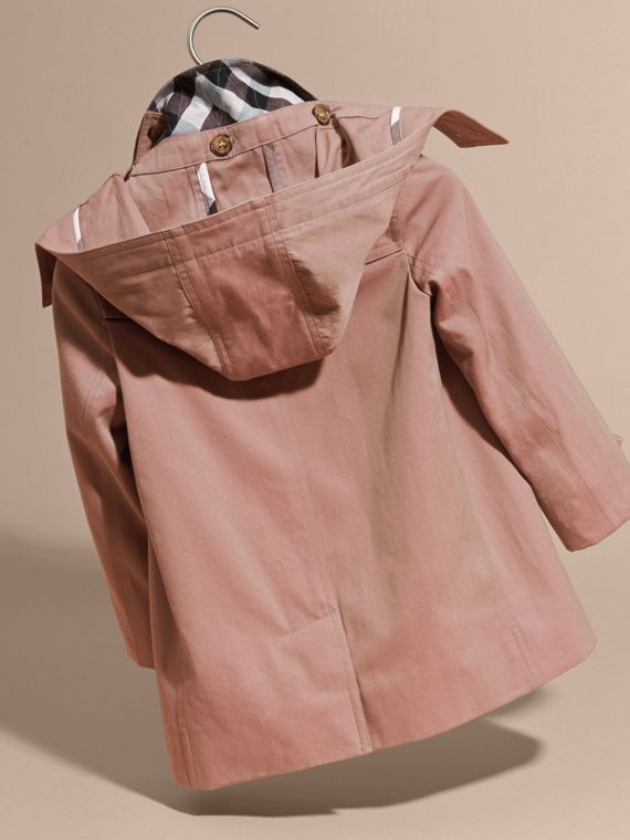 Detachable Hood Tropical Gabardine Trench Coat Antique Rose - cell image 3