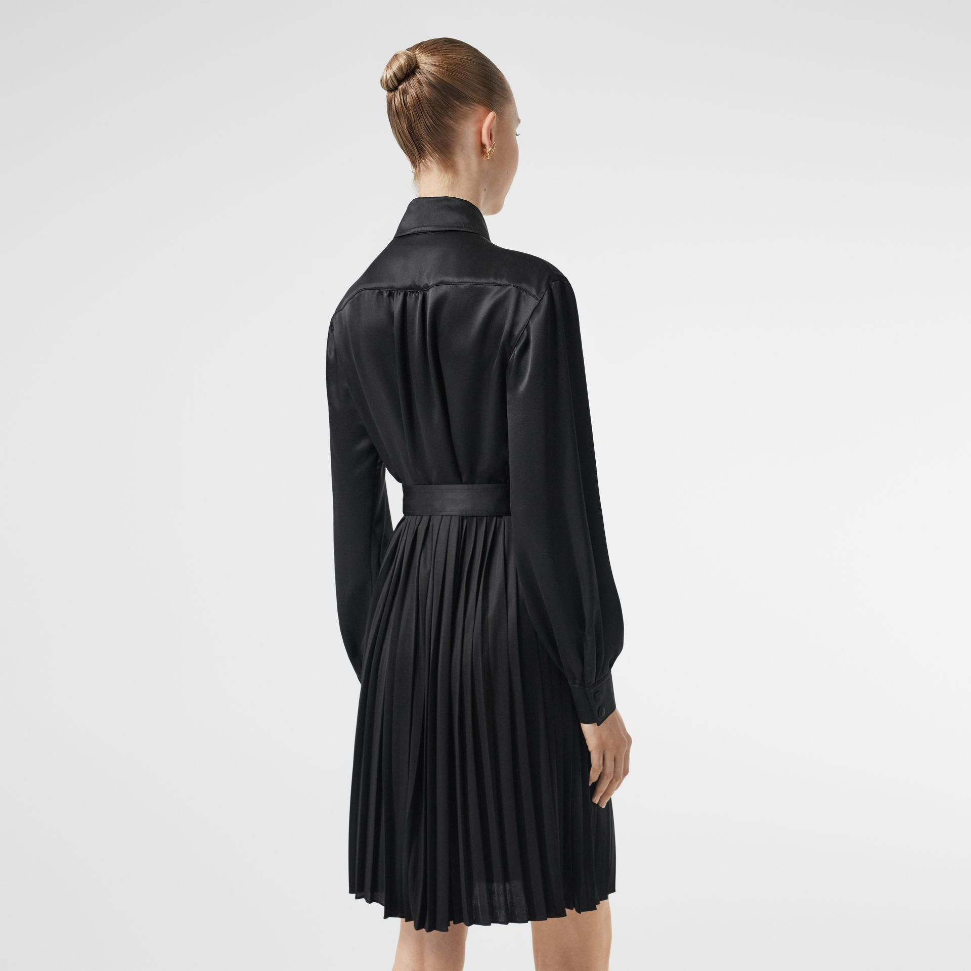 Pleated Silk Satin and Jersey Tie-waist Shirt Dress in Black - Women | Burberry - gallery image 2