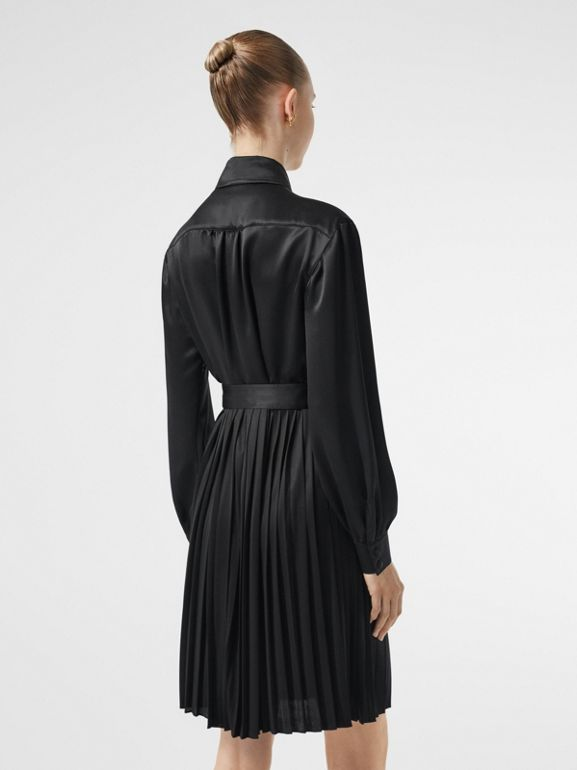 Pleated Silk Satin and Jersey Tie-waist Shirt Dress in Black - Women | Burberry United Kingdom - cell image 1
