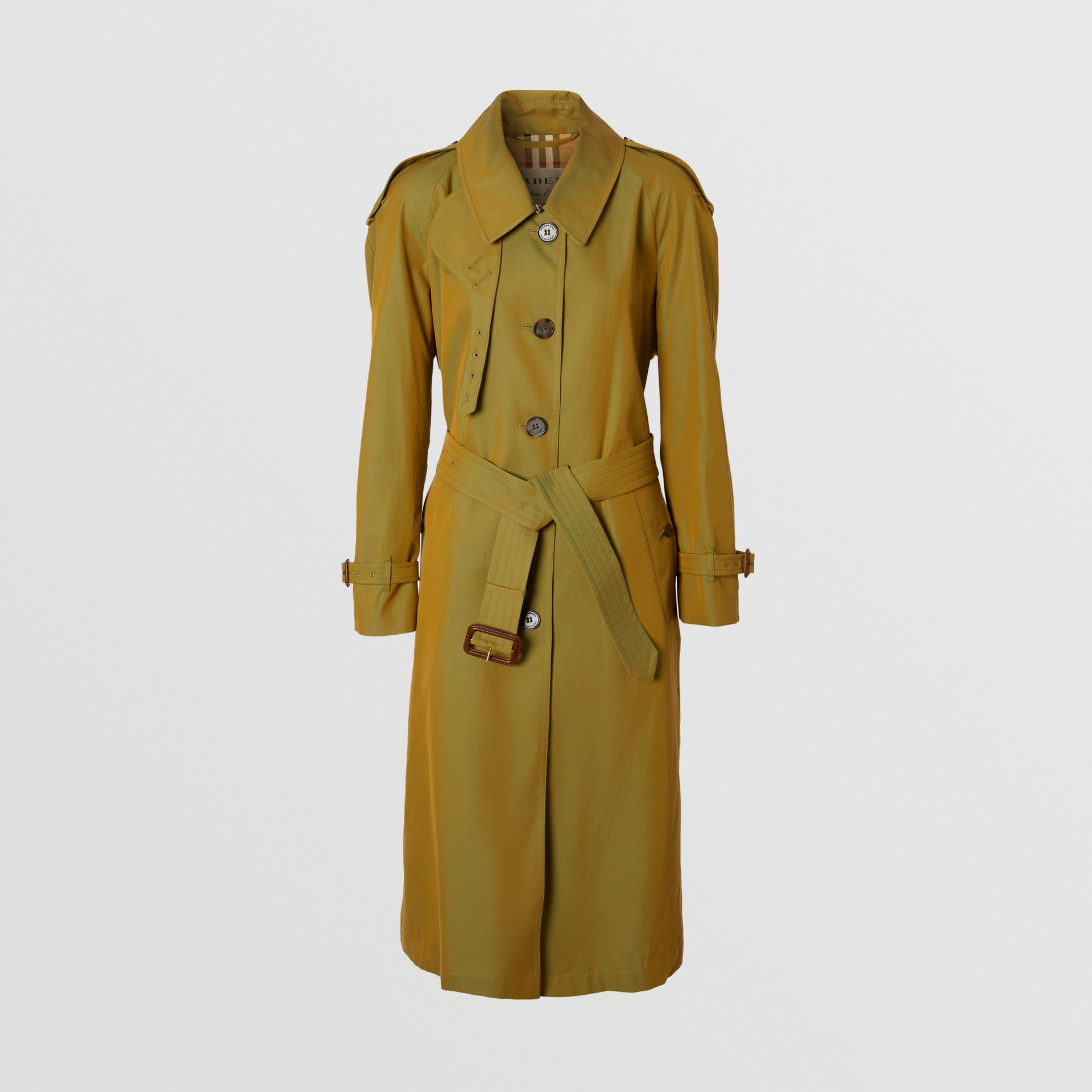 Side-slit Tropical Gabardine Trench Coat in Green Ochre - Women | Burberry Australia - gallery image 0