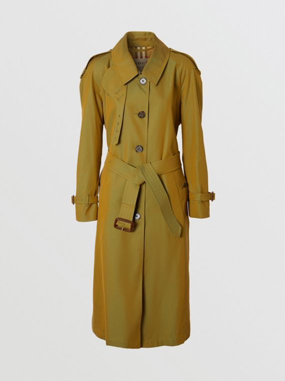 Side-slit Tropical Gabardine Trench Coat in Green Ochre