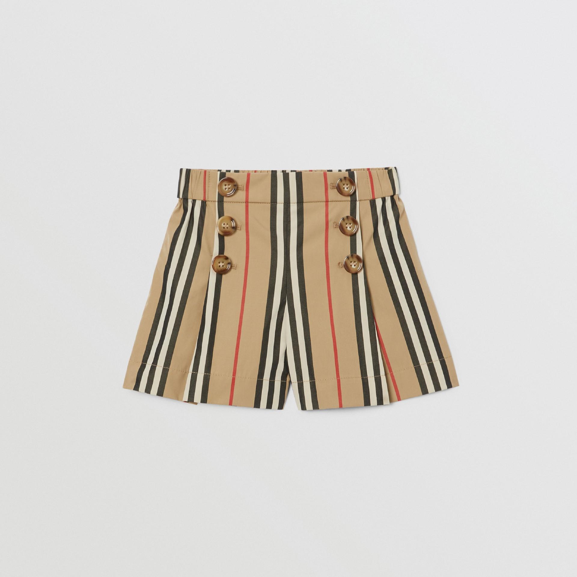 Icon Stripe Cotton Poplin Sailor Shorts in Archive Beige - Children | Burberry United Kingdom - gallery image 0