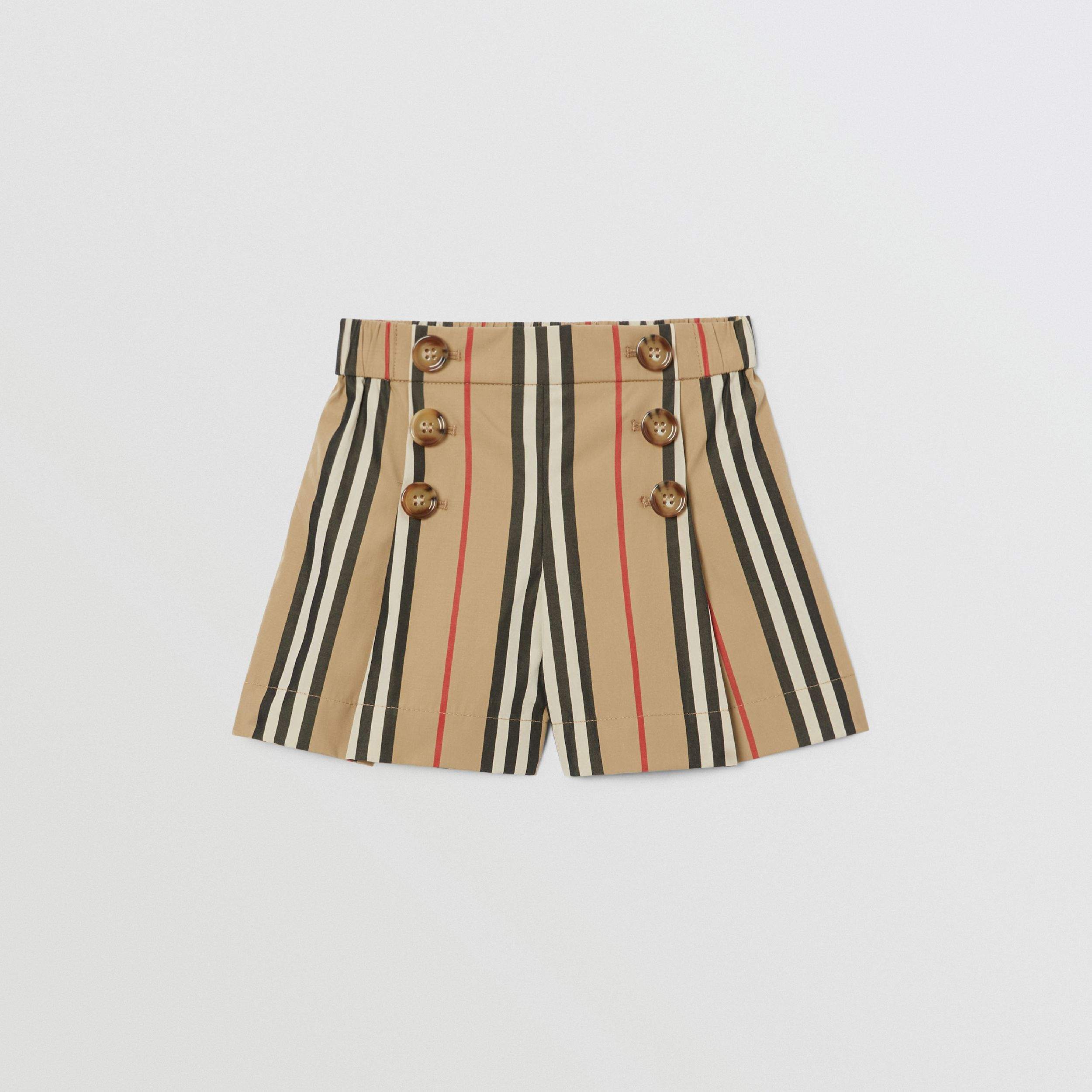 Icon Stripe Cotton Poplin Sailor Shorts in Archive Beige - Children | Burberry Australia - 1
