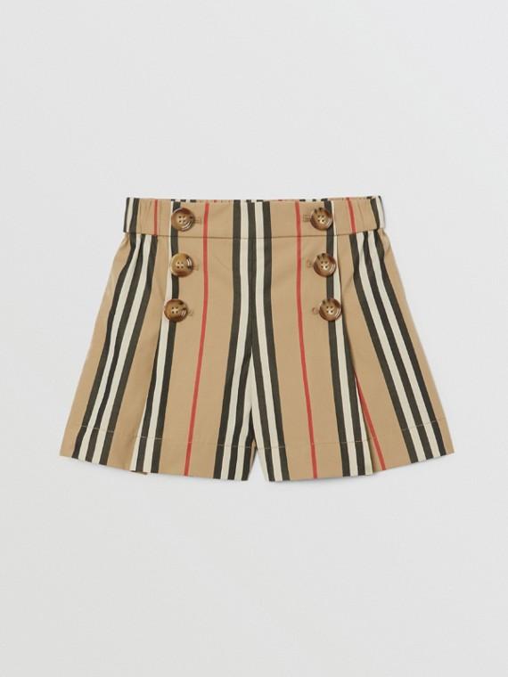 Icon Stripe Cotton Poplin Sailor Shorts in Archive Beige