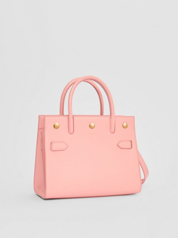 Mini Leather Two-handle Title Bag in Blush Pink