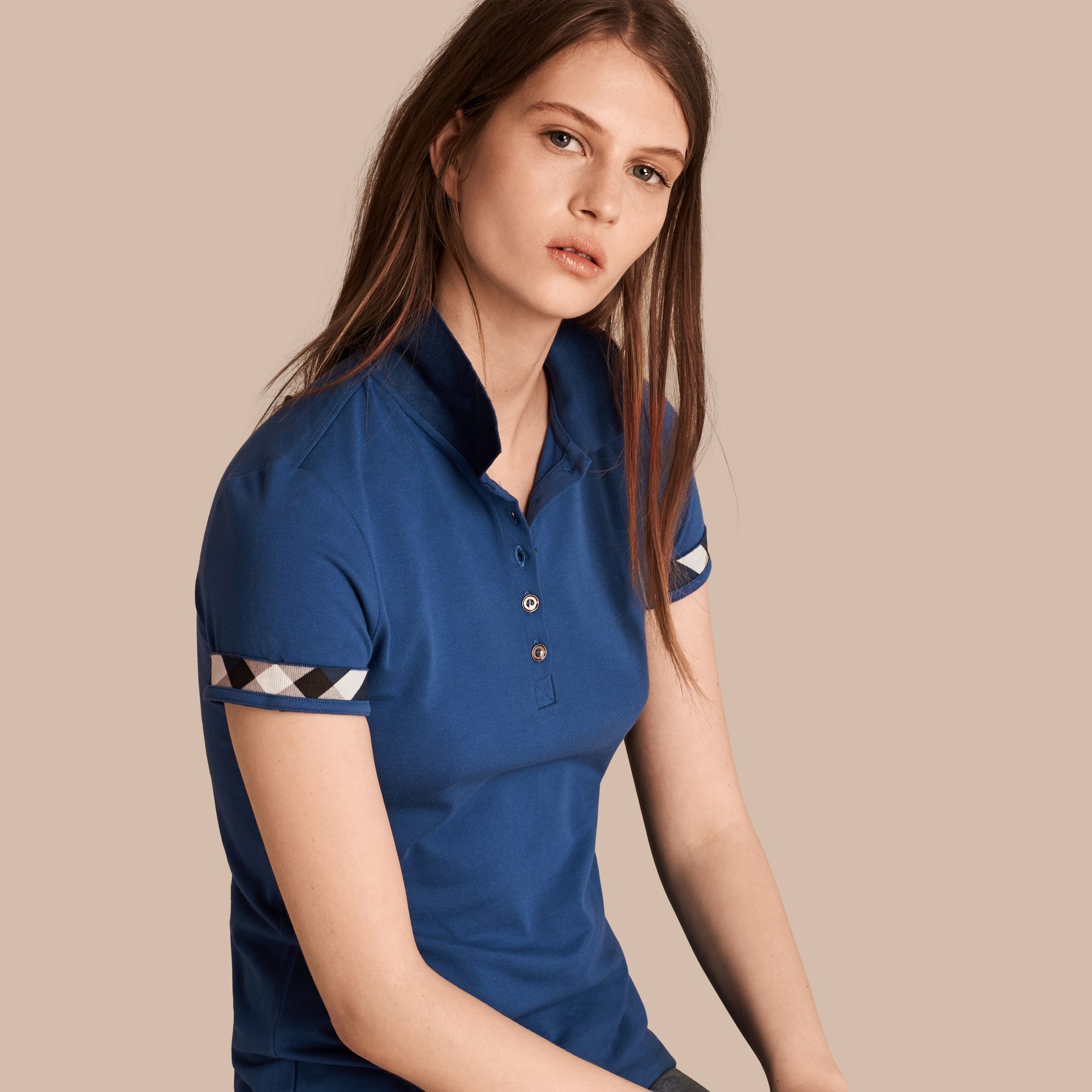 Bright cobalt Check Trim Stretch Cotton Piqué Polo Shirt Bright Cobalt - gallery image 1