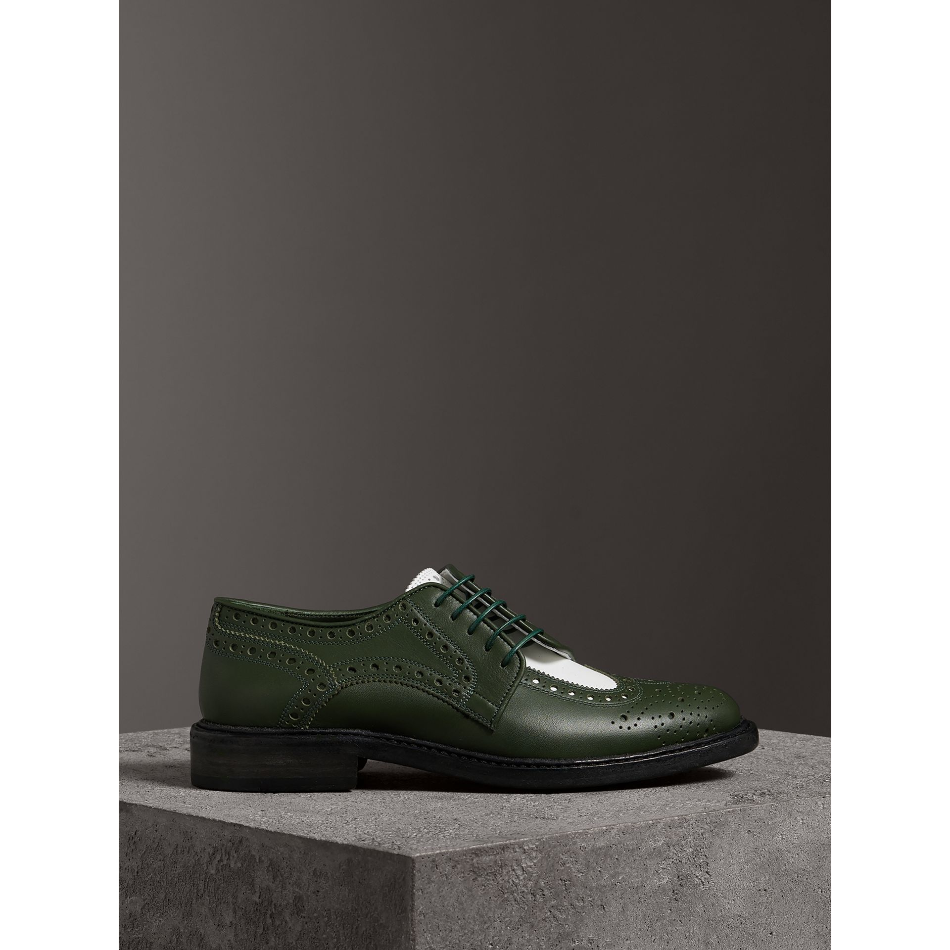 Two-tone Asymmetric Closure Leather Brogues in Dark Green - Women | Burberry Singapore - gallery image 3